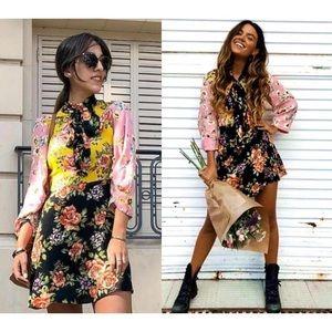 Zara Floral Patchwork Dress Size XS